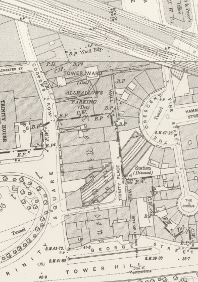 Coopers Row and Trinity place in about 1896
