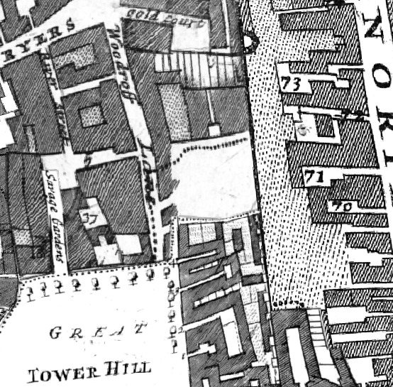 Coopers row was Woodroff lane in 1720