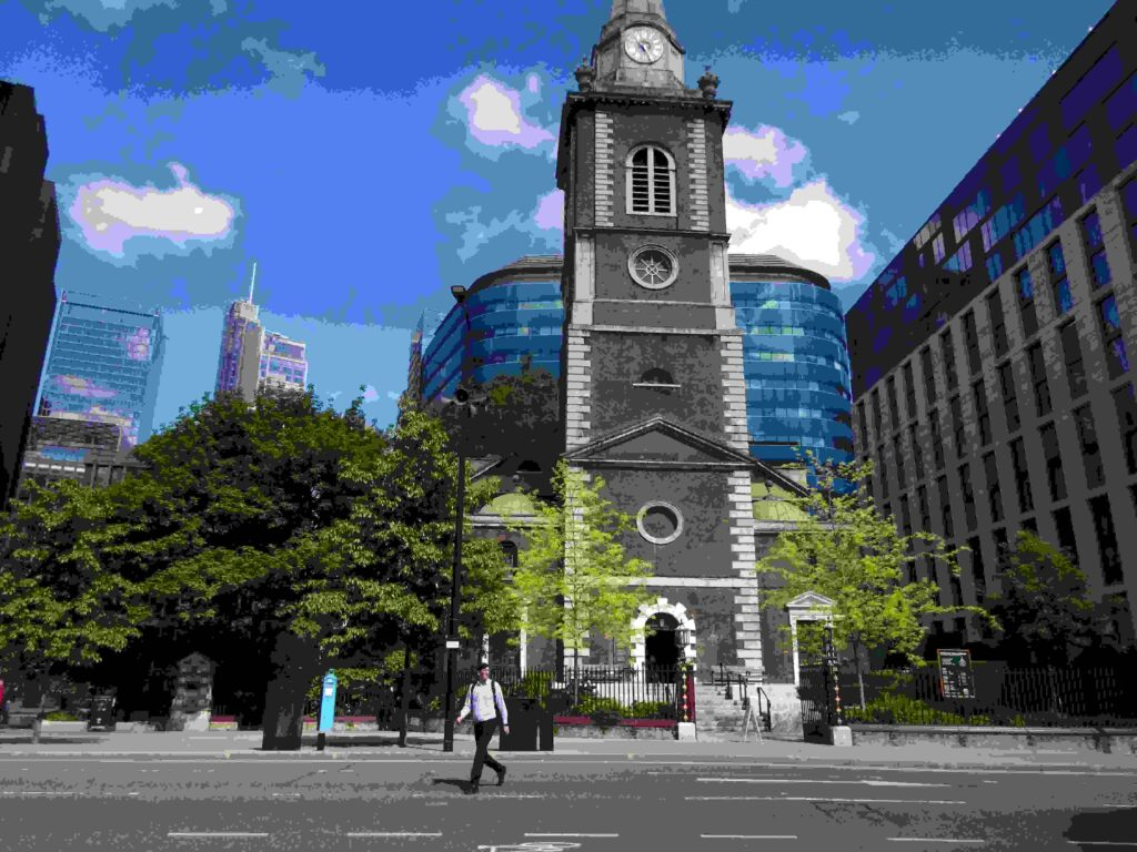 St Botolph without in May 2021, the wall is to the left, as without means outside the wall